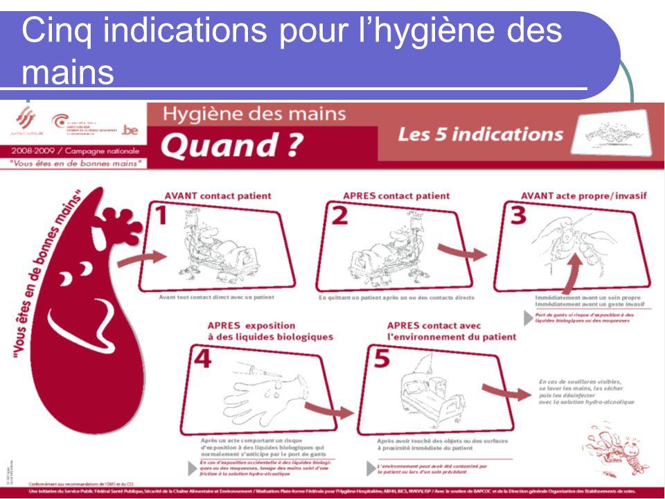 Cinq indications pour l'hygiène des mains