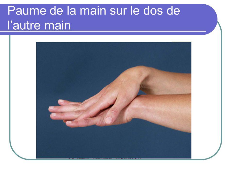 Paume de la main sur le dos de l'autre main