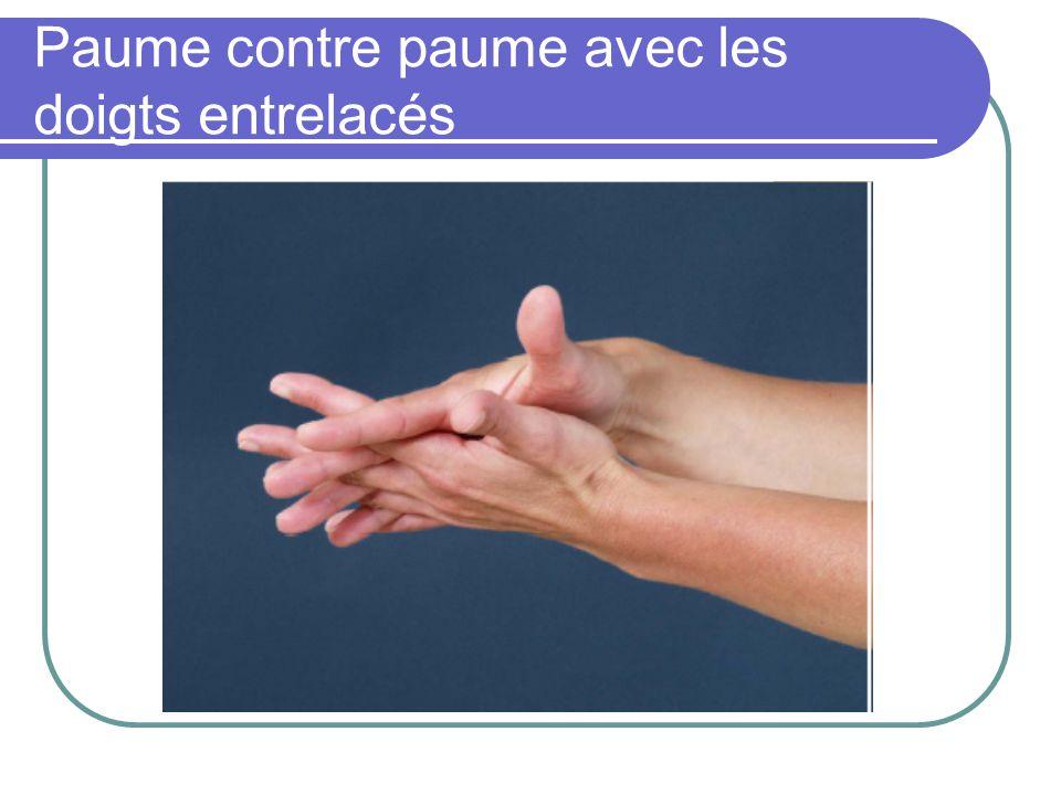 Paume contre paume avec les doigts entrelacés