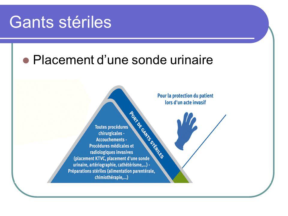 Gants stériles Placement d'une sonde urinaire