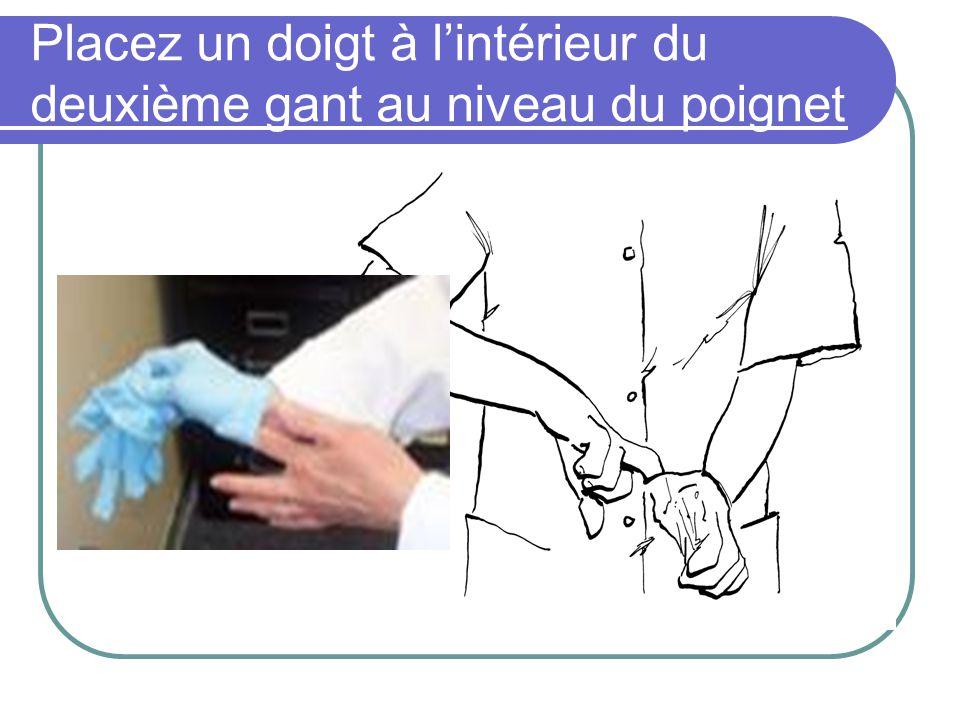 Placez un doigt à l'intérieur du deuxième gant au niveau du poignet