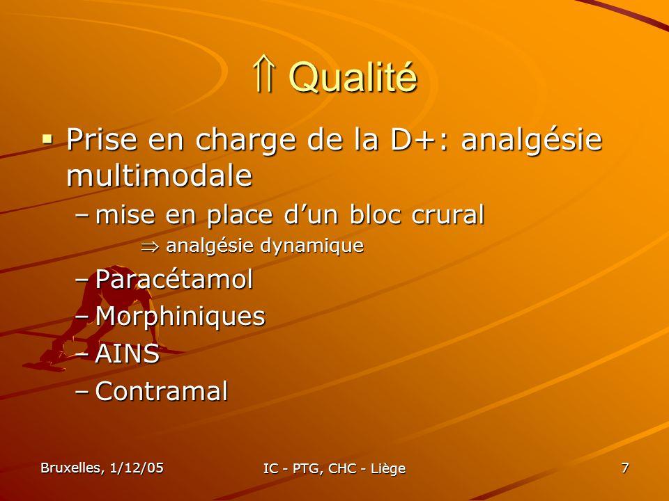  Qualité Prise en charge de la D+: analgésie multimodale