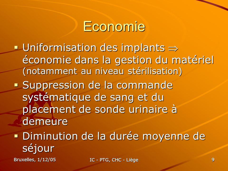 Economie Uniformisation des implants  économie dans la gestion du matériel (notamment au niveau stérilisation)