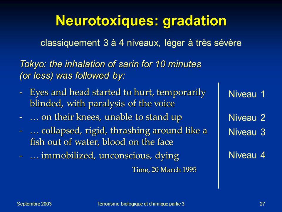 Neurotoxiques: gradation