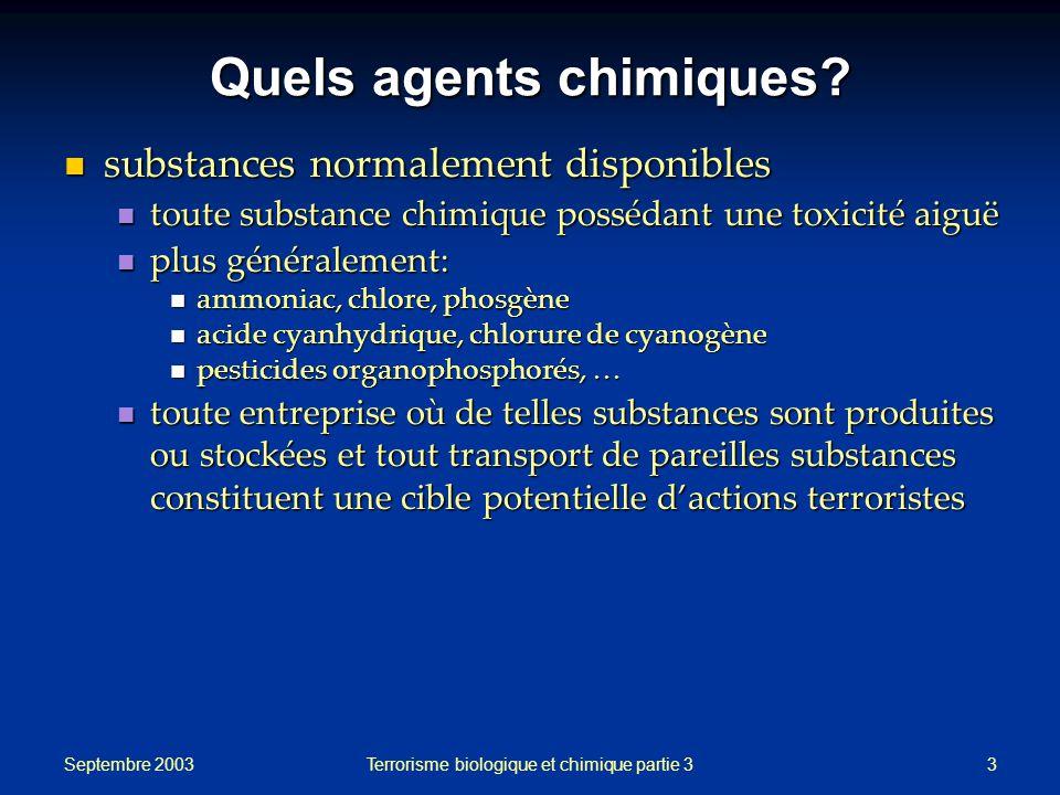 Quels agents chimiques