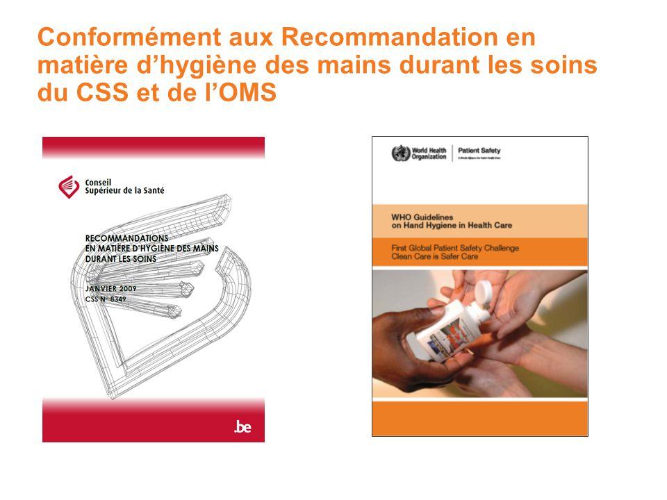 Conformément aux Recommandation en matière d'hygiène des mains durant les soins du CSS et de l'OMS