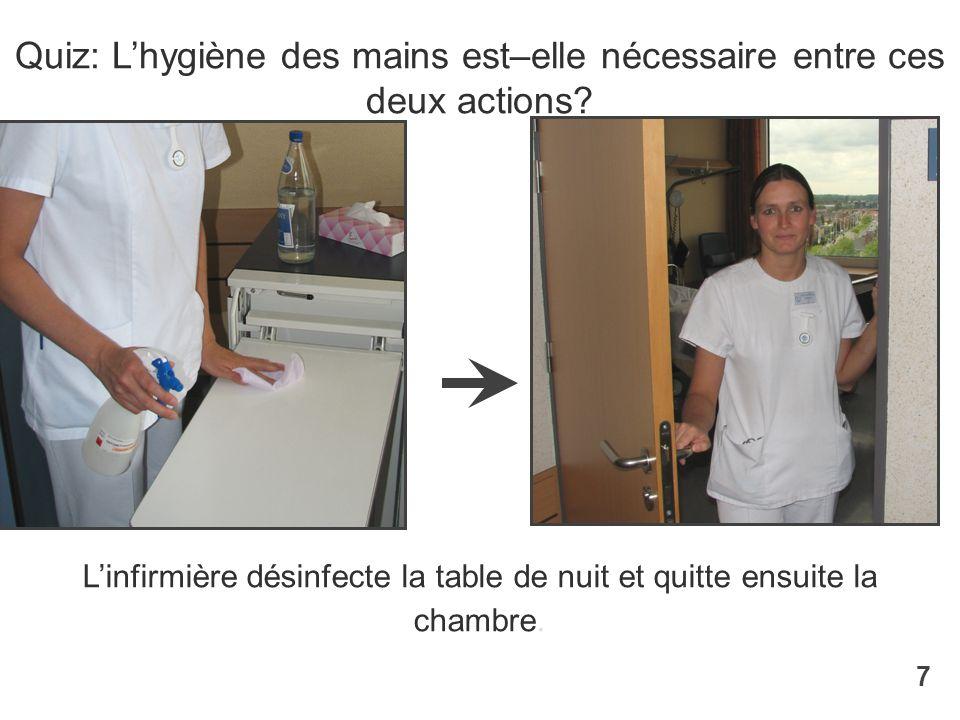 Quiz: L'hygiène des mains est–elle nécessaire entre ces deux actions