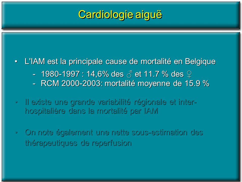 Cardiologie aiguë L IAM est la principale cause de mortalité en Belgique. 1980-1997 : 14,6% des ♂ et 11.7 % des ♀