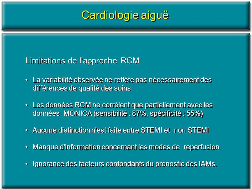 Cardiologie aiguë Limitations de l approche RCM