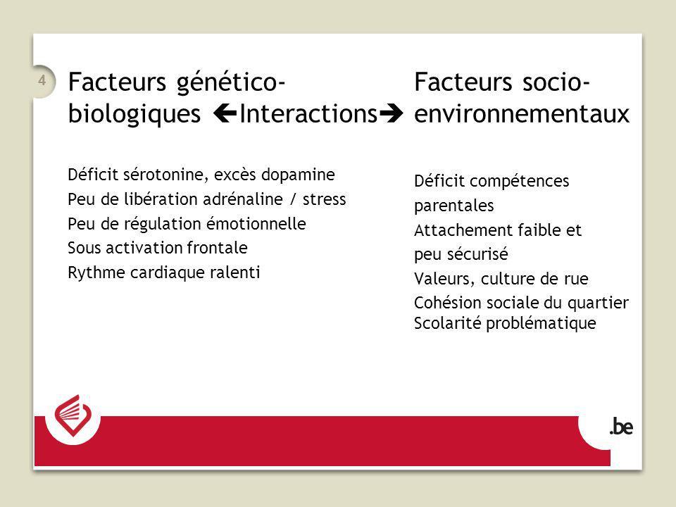 Facteurs génético-biologiques Interactions