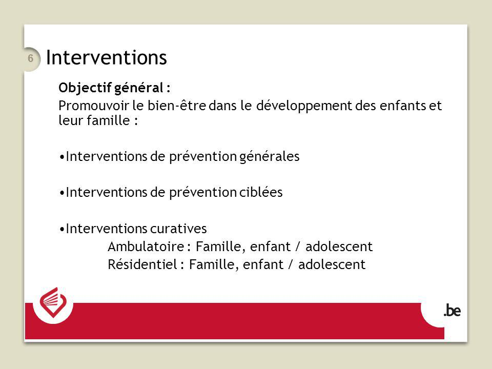 Interventions Objectif général :