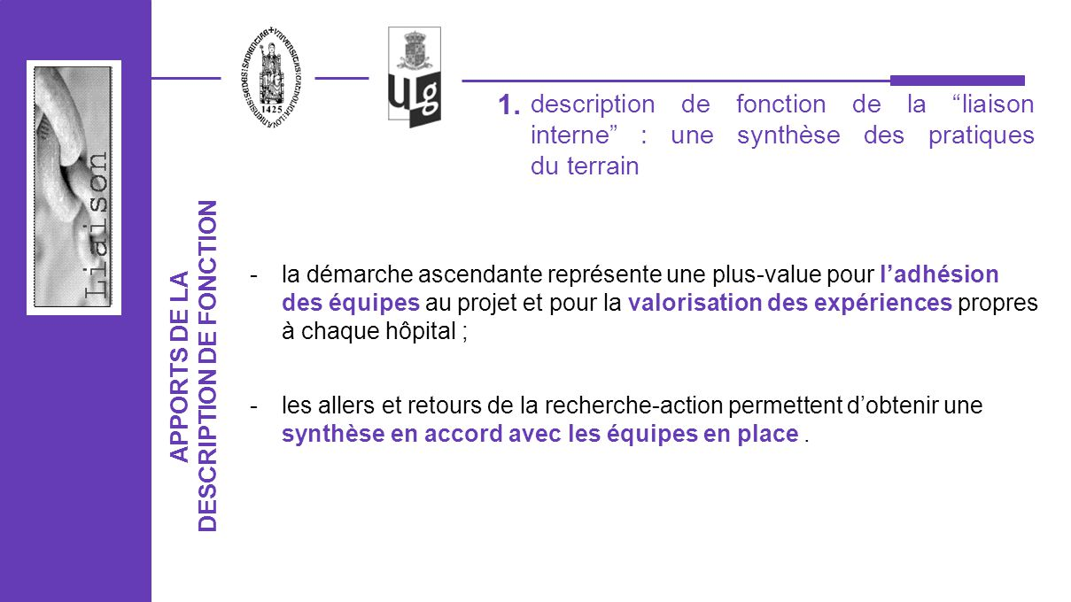 DESCRIPTION DE FONCTION