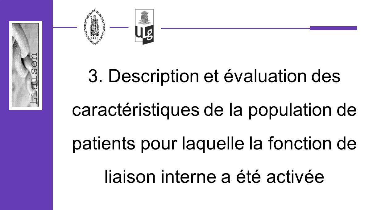 3. Description et évaluation des caractéristiques de la population de