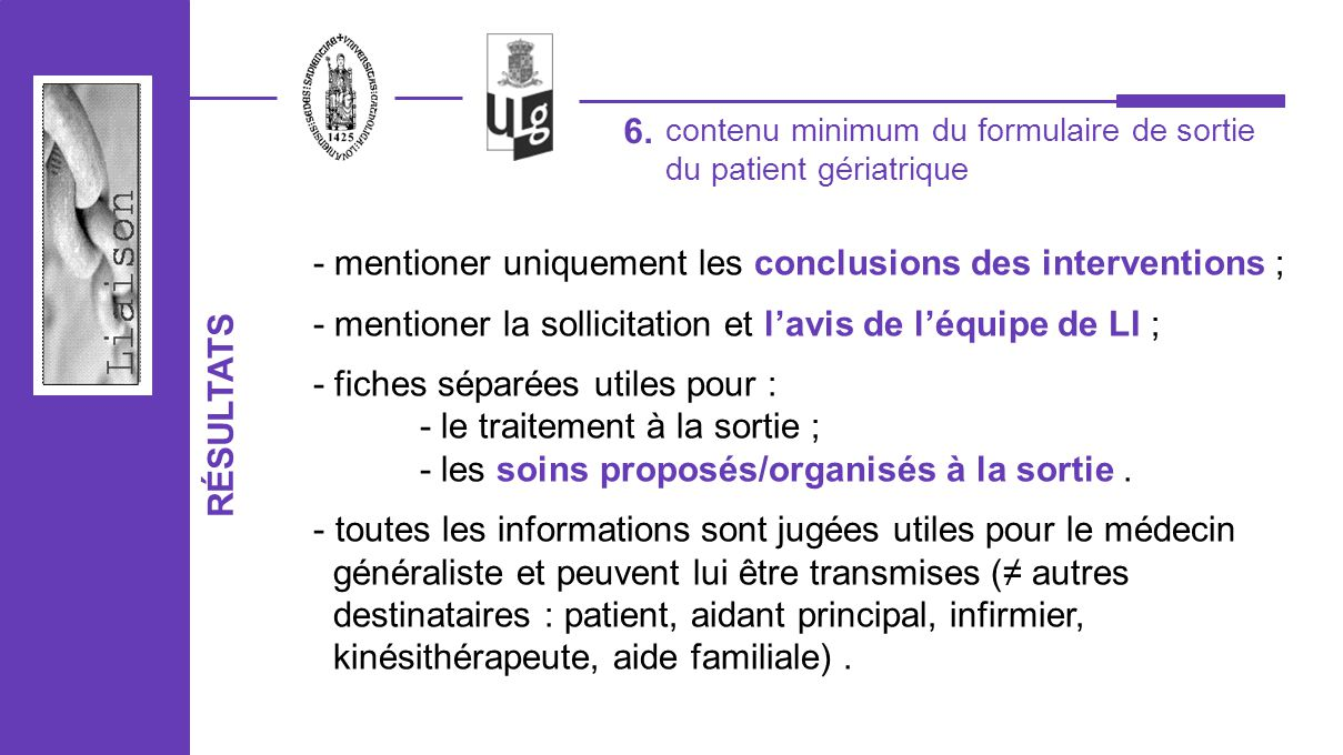 - mentioner uniquement les conclusions des interventions ;
