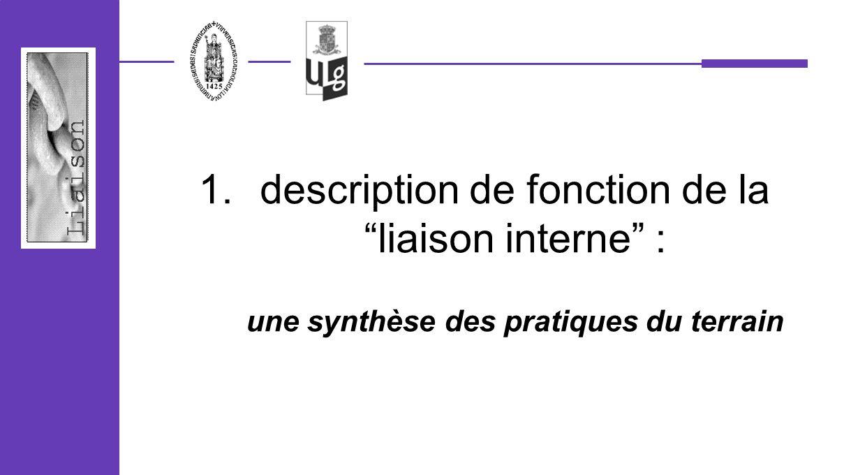 description de fonction de la liaison interne : une synthèse des pratiques du terrain