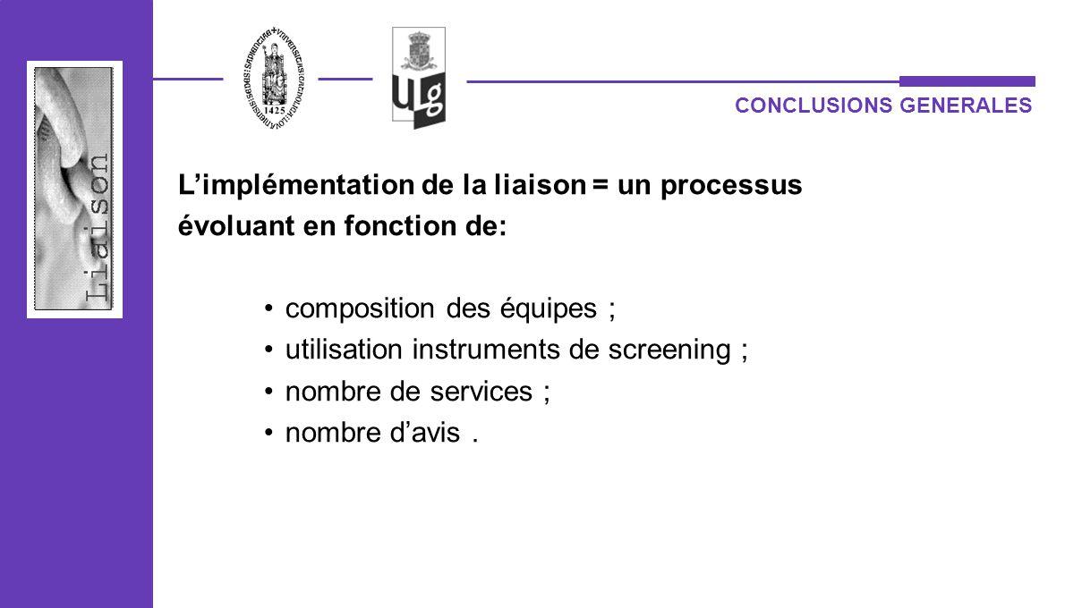 L'implémentation de la liaison = un processus évoluant en fonction de: