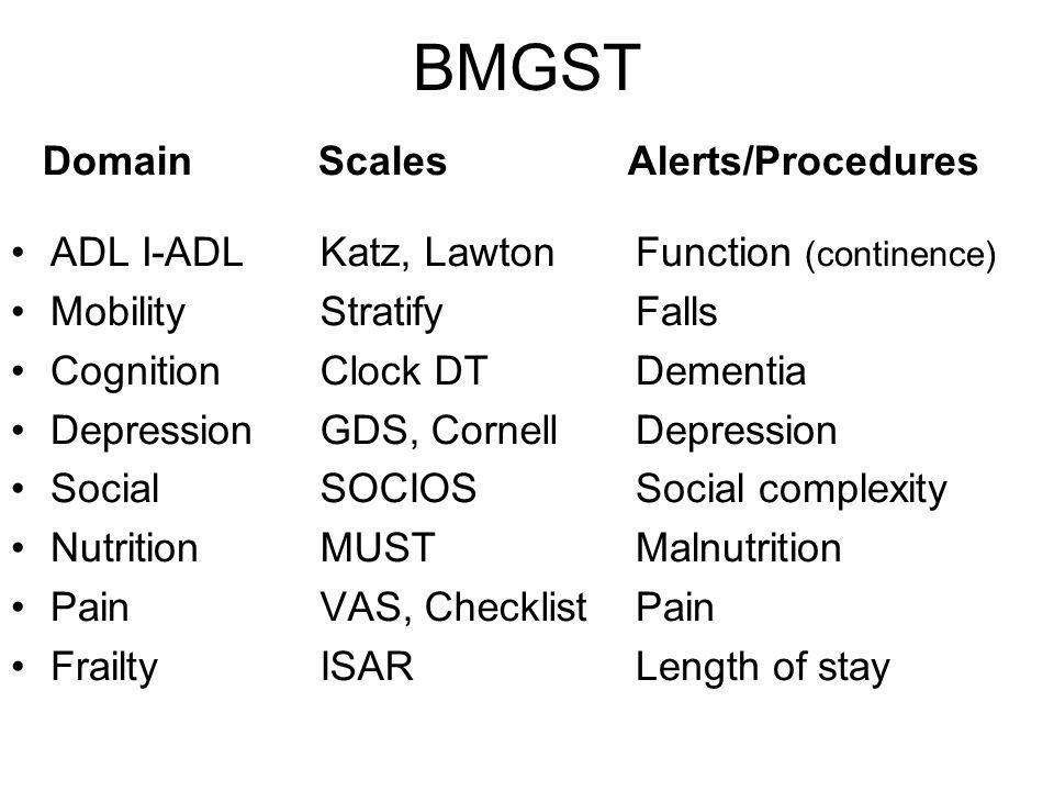 BMGST Domain Scales Alerts/Procedures ADL I-ADL Mobility Cognition