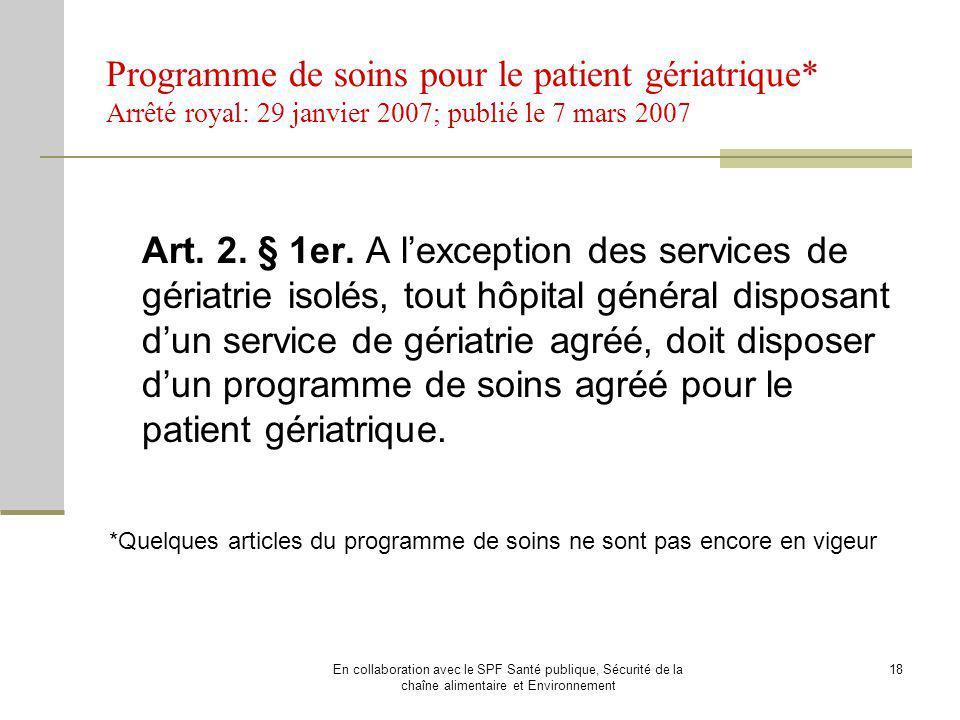 Programme de soins pour le patient gériatrique
