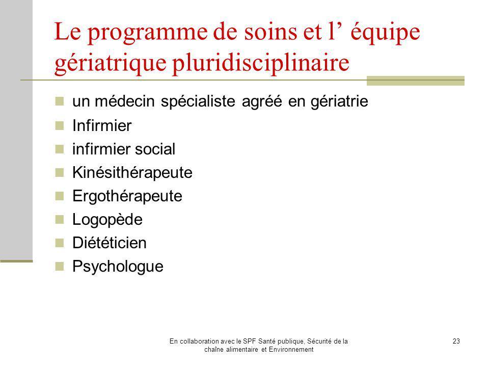 Le programme de soins et l' équipe gériatrique pluridisciplinaire