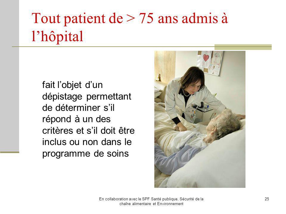 Tout patient de > 75 ans admis à l'hôpital