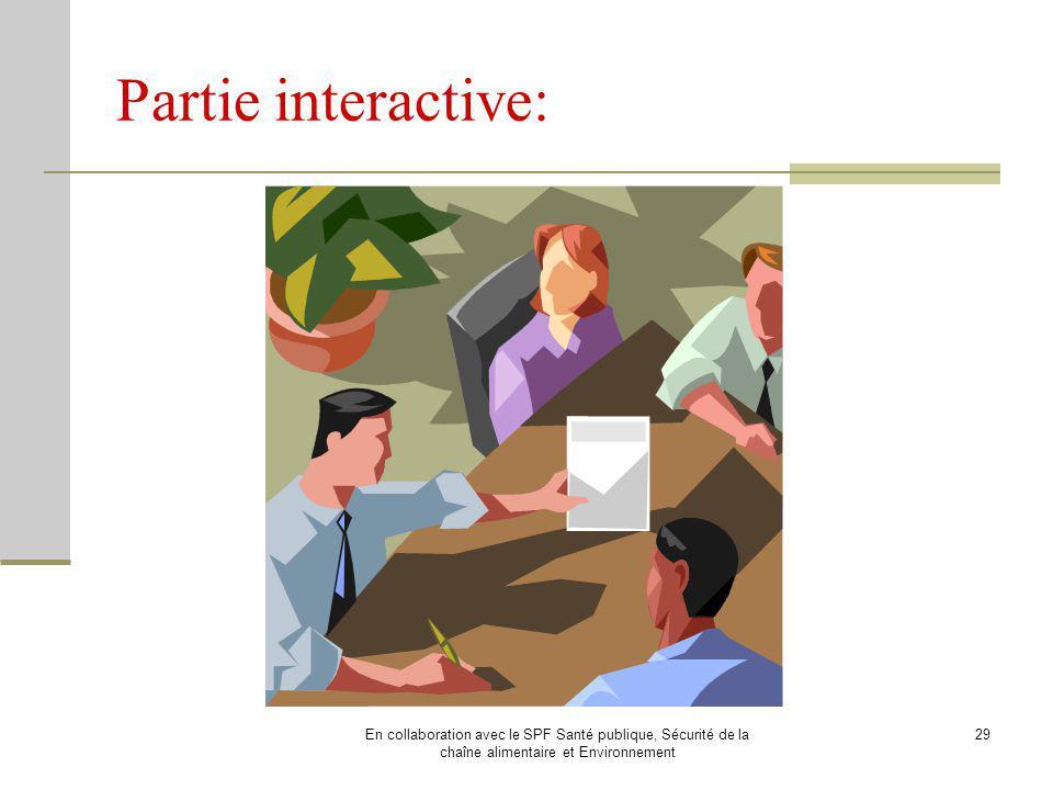 Partie interactive: En collaboration avec le SPF Santé publique, Sécurité de la chaîne alimentaire et Environnement.