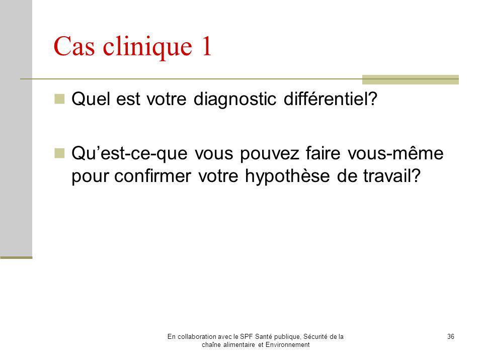 Cas clinique 1 Quel est votre diagnostic différentiel