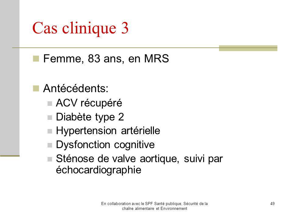 Cas clinique 3 Femme, 83 ans, en MRS Antécédents: ACV récupéré
