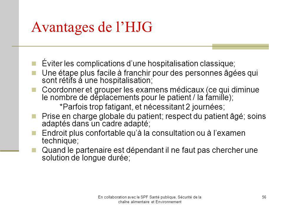 Avantages de l'HJG Éviter les complications d'une hospitalisation classique;