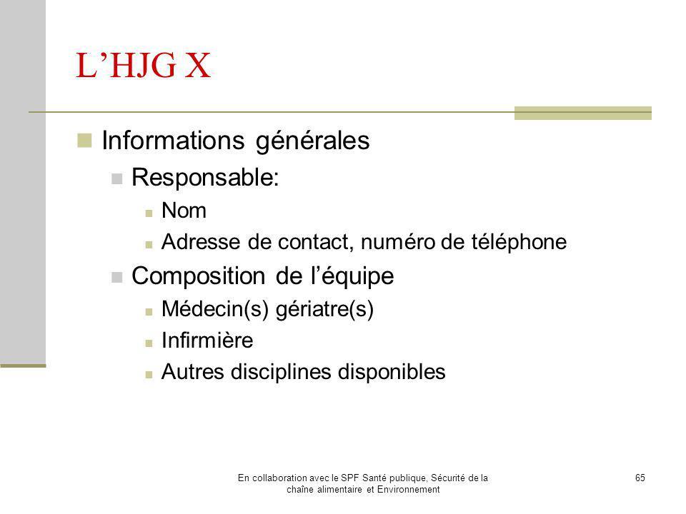 L'HJG X Informations générales Responsable: Composition de l'équipe