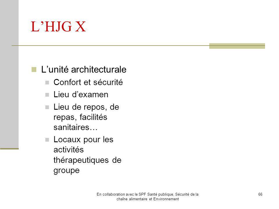 L'HJG X L'unité architecturale Confort et sécurité Lieu d'examen
