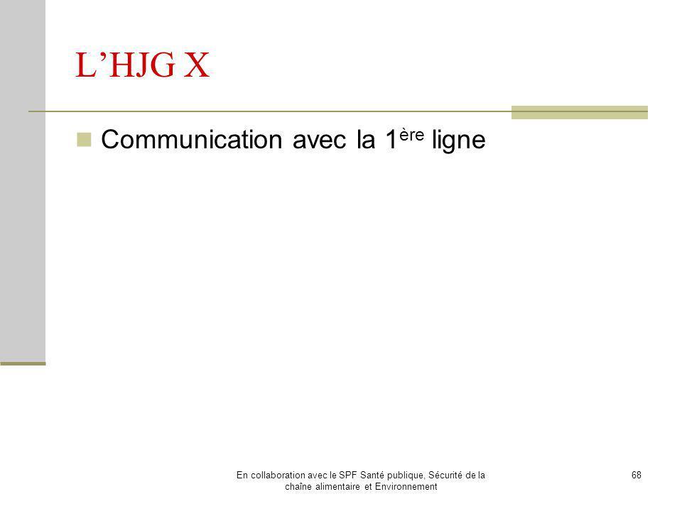L'HJG X Communication avec la 1ère ligne