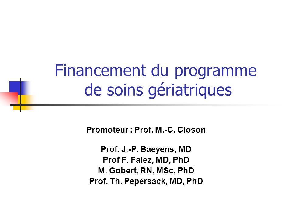 Financement du programme de soins gériatriques