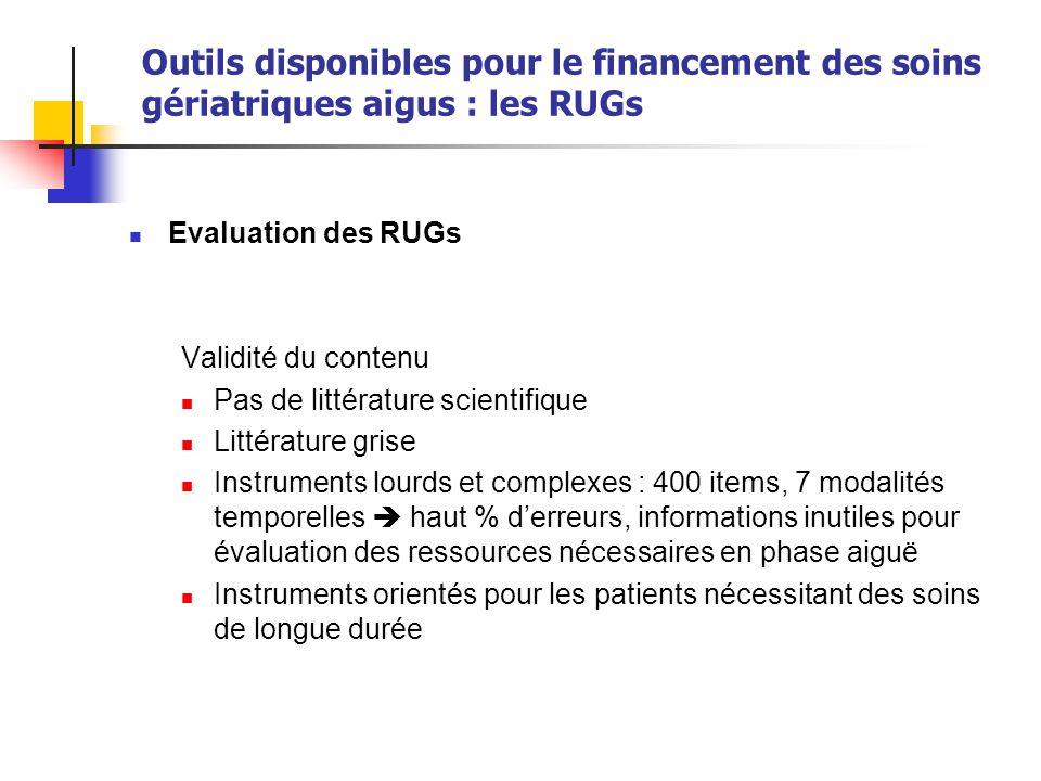 Outils disponibles pour le financement des soins gériatriques aigus : les RUGs