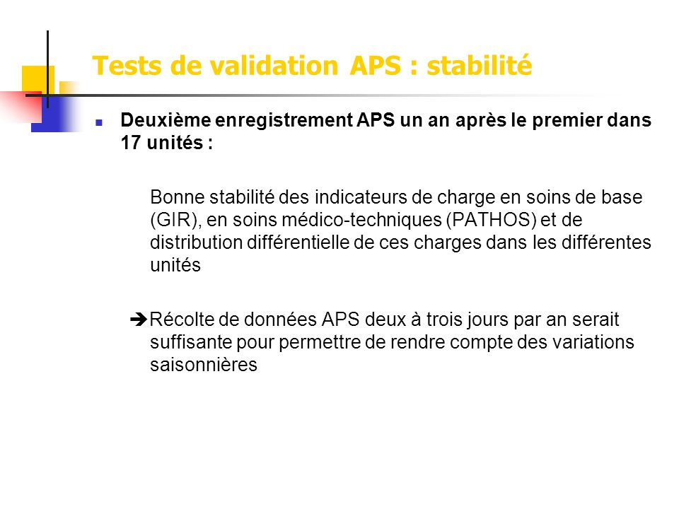Tests de validation APS : stabilité