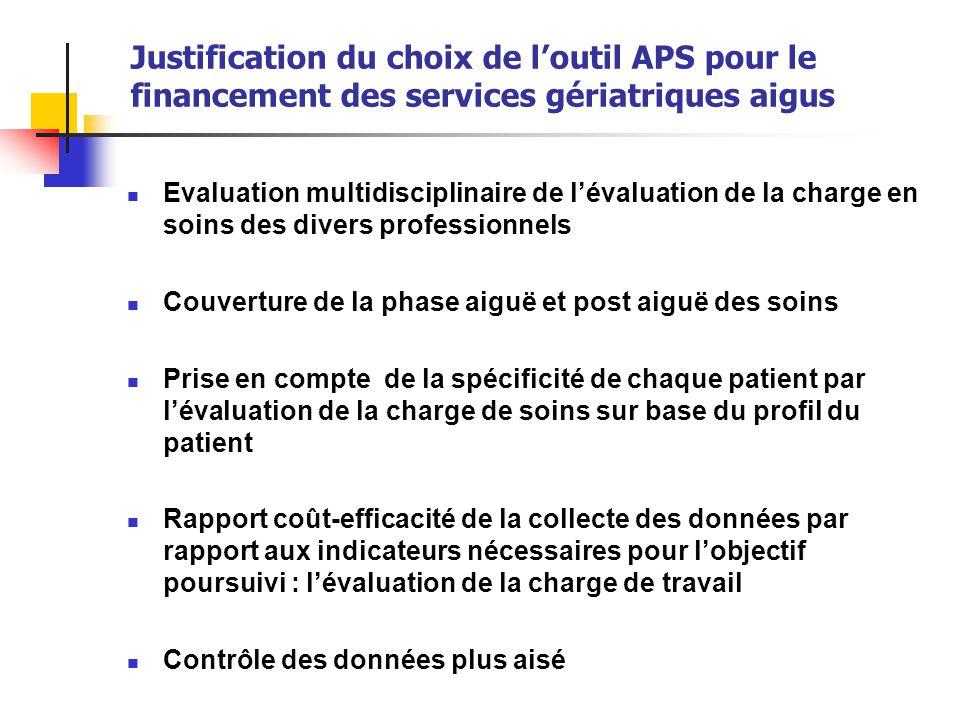 Justification du choix de l'outil APS pour le financement des services gériatriques aigus