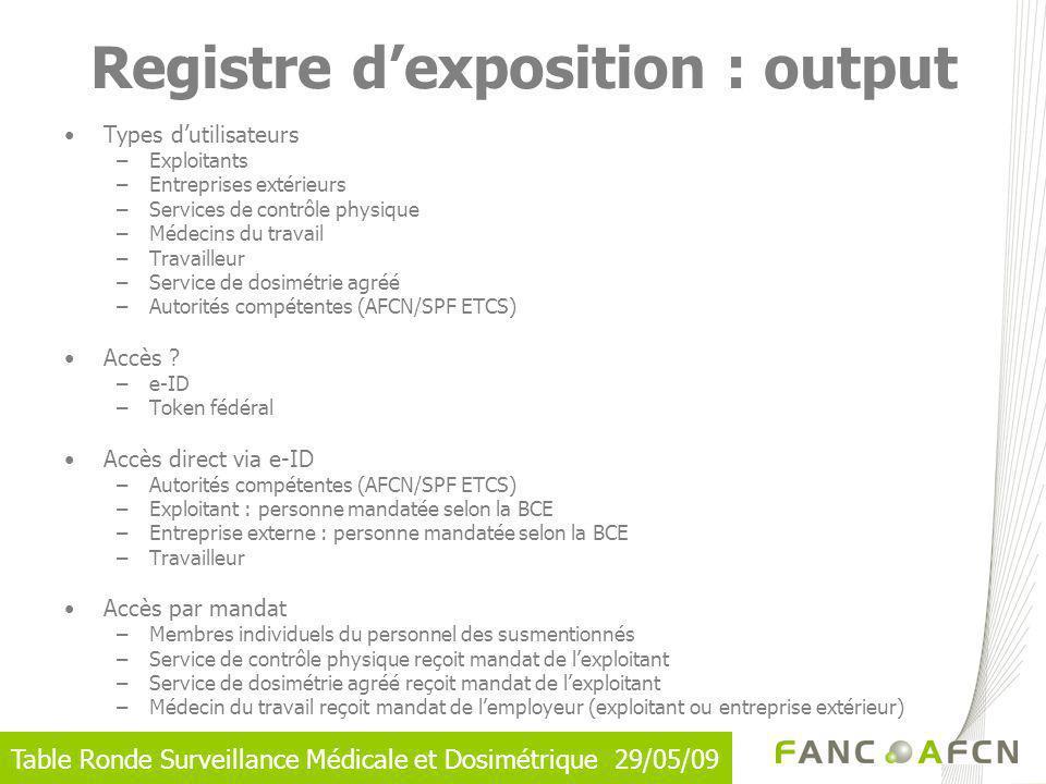Registre d'exposition : output