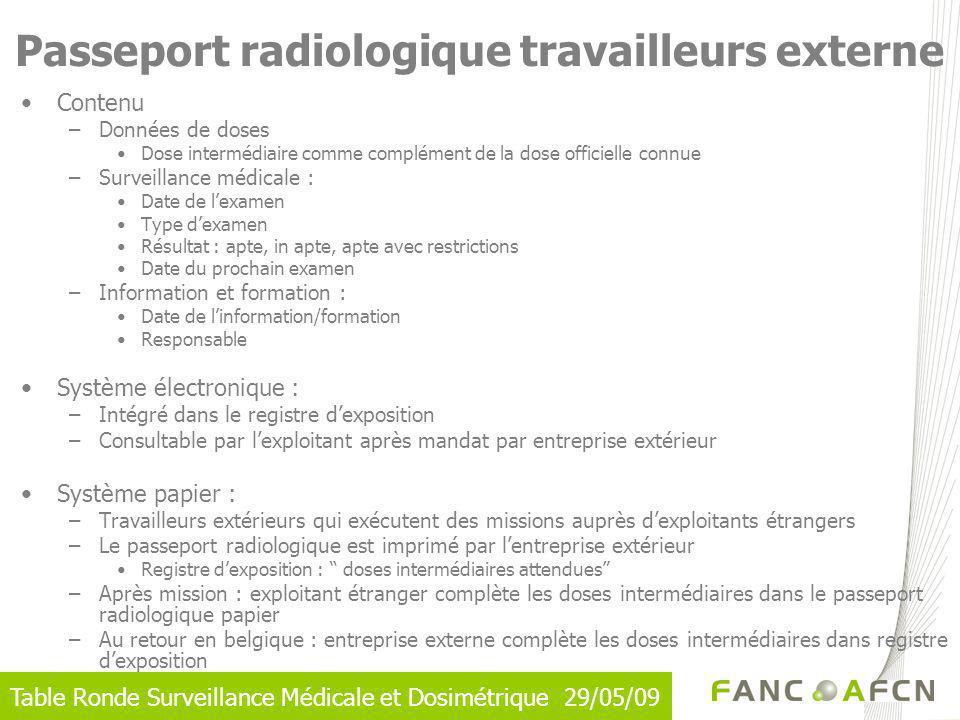 Passeport radiologique travailleurs externe