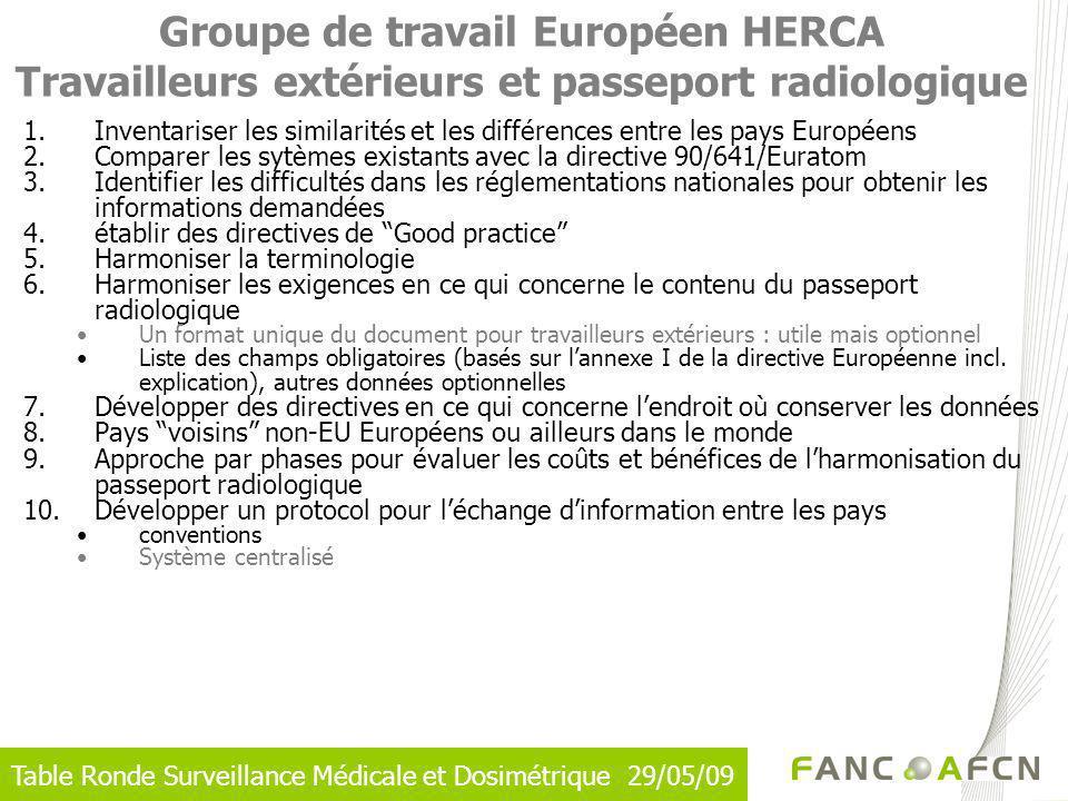Groupe de travail Européen HERCA Travailleurs extérieurs et passeport radiologique