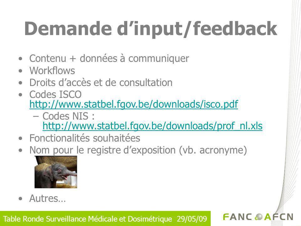 Demande d'input/feedback