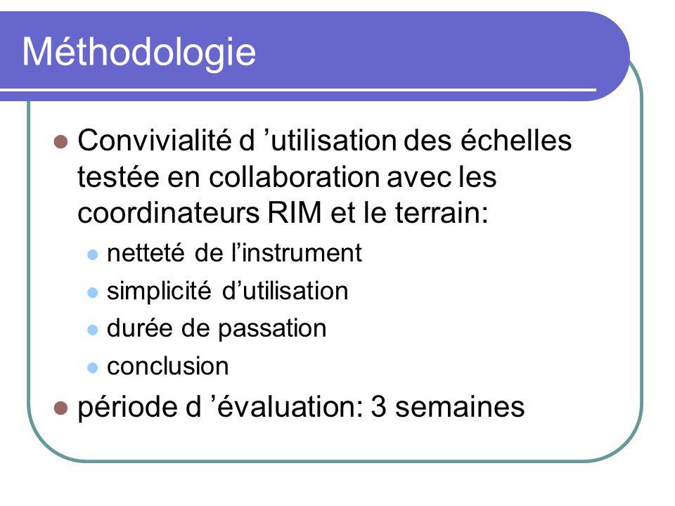 Méthodologie Convivialité d 'utilisation des échelles testée en collaboration avec les coordinateurs RIM et le terrain: