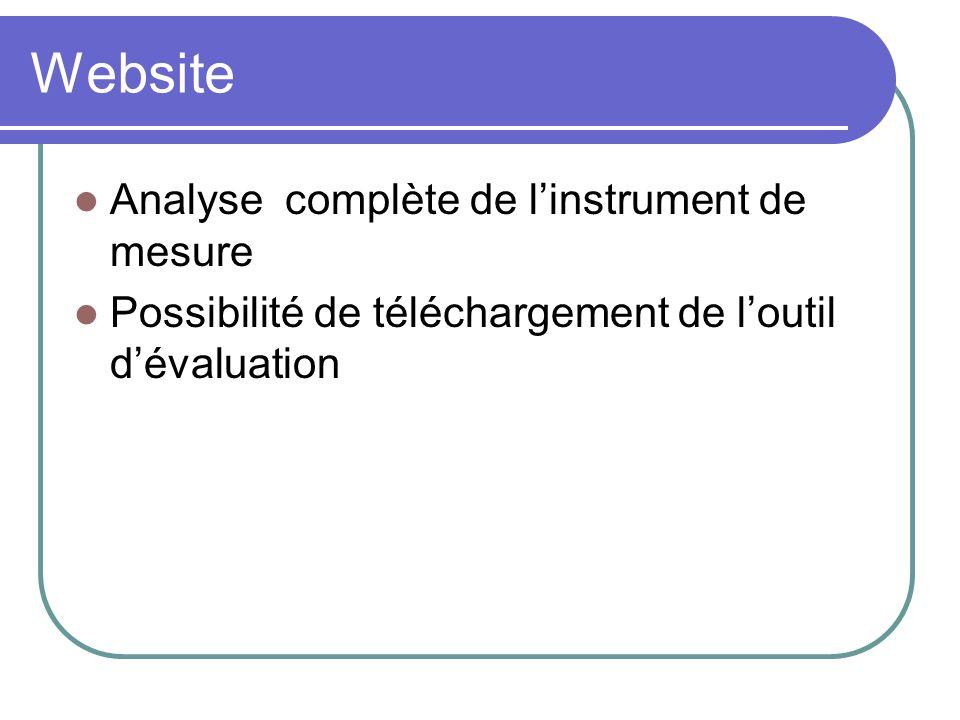 Website Analyse complète de l'instrument de mesure
