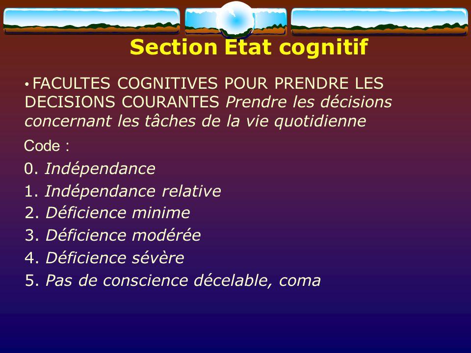 Section Etat cognitif Code : 0. Indépendance 1. Indépendance relative