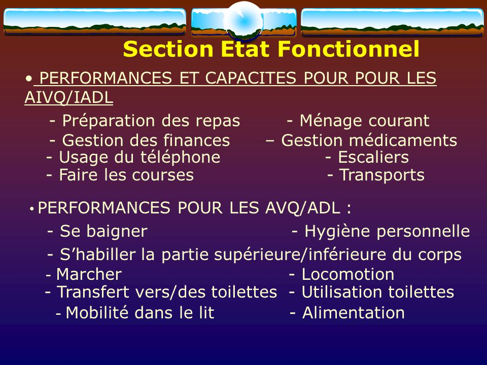 Section Etat Fonctionnel