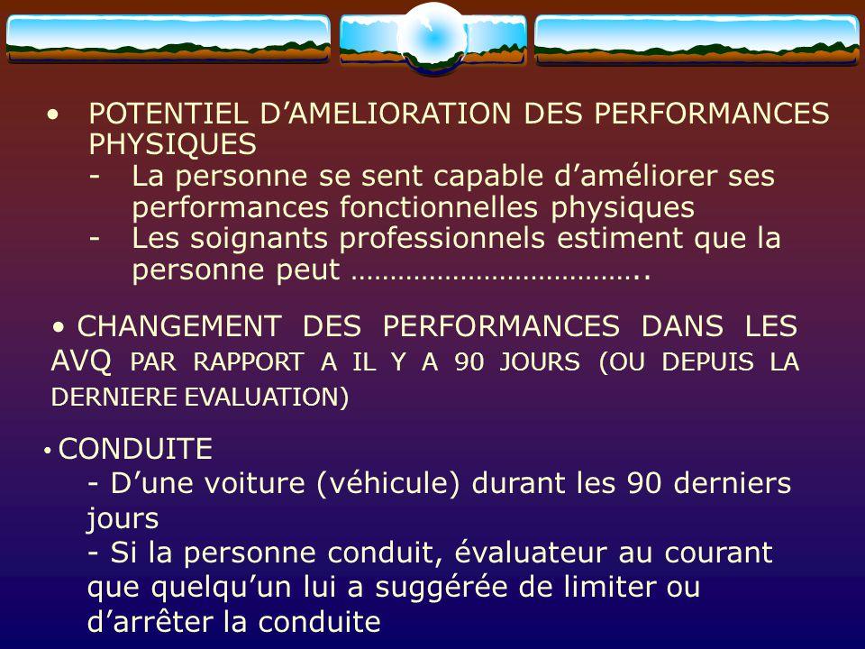 POTENTIEL D'AMELIORATION DES PERFORMANCES PHYSIQUES