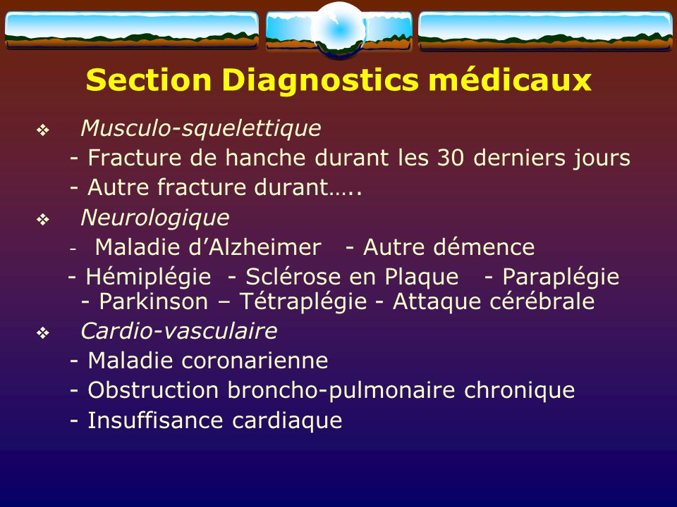 Section Diagnostics médicaux