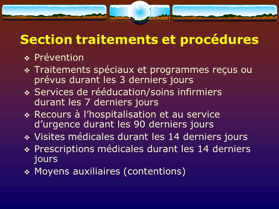 Section traitements et procédures