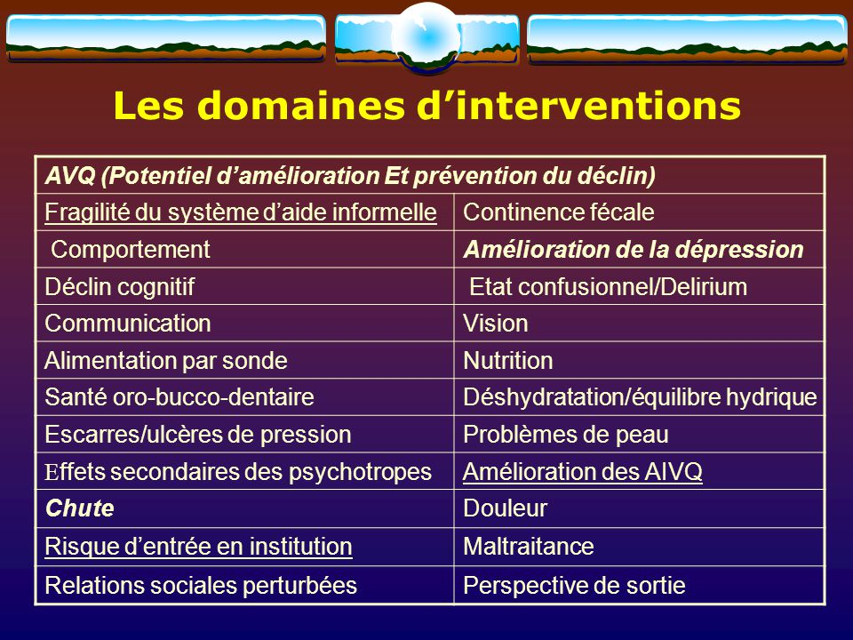 Les domaines d'interventions