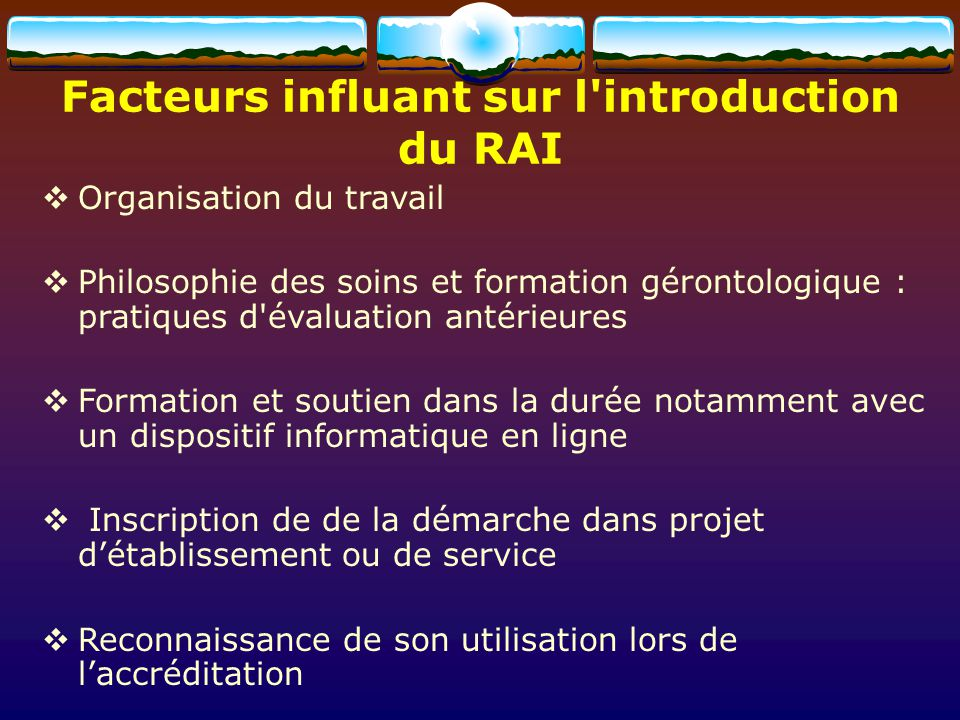 Facteurs influant sur l introduction
