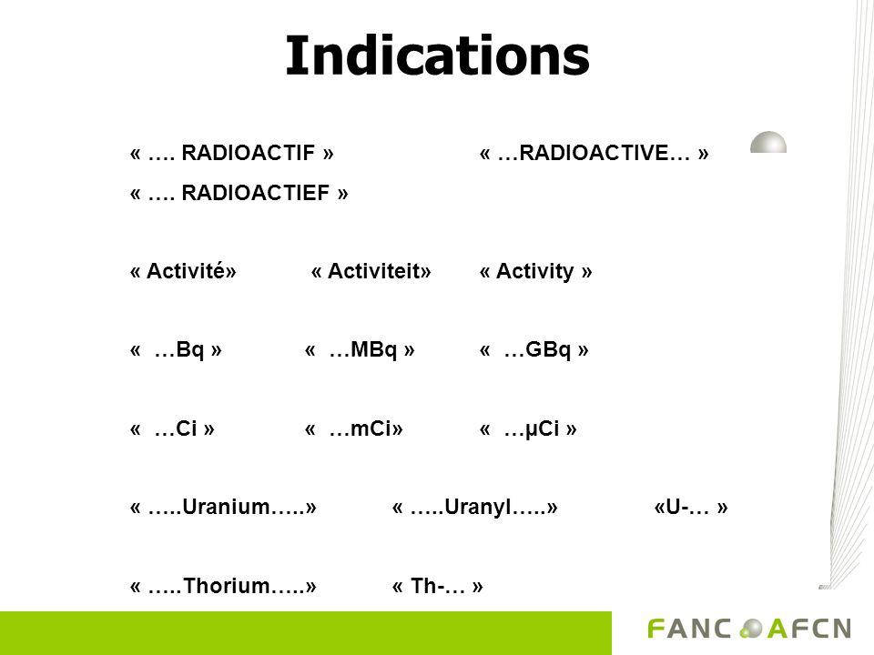Indications « …. RADIOACTIF » « …RADIOACTIVE… » « …. RADIOACTIEF »