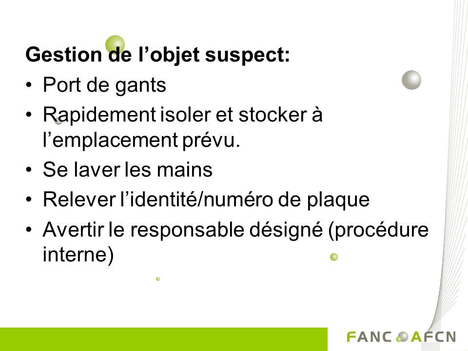 Gestion de l'objet suspect: Port de gants